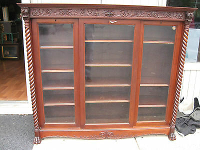 Lg. Antique Bookcase Carved Lions Claw Feet Sliding Doors  Raised Panel Sides