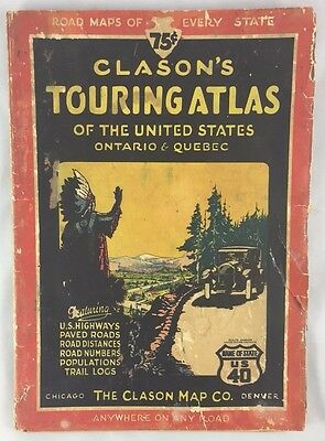 Antique Art Deco Era 1920s Clason's Touring Atlas United States Ontario Quebec