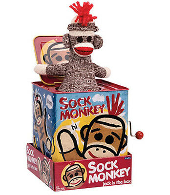 Sock Monkey Jack In The Box Schylling Tin Toy - Sale!