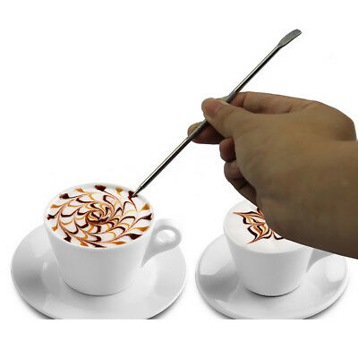 Barista Household Coffee Cappuccino Latte Espresso Stainless Steel Art Pen