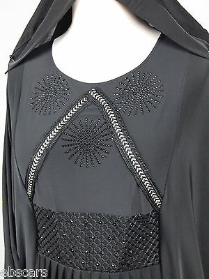 New DUBAI Black Silver Elegant Abaya Jilbab Kaftan Islamic Clothing Maxi Dress