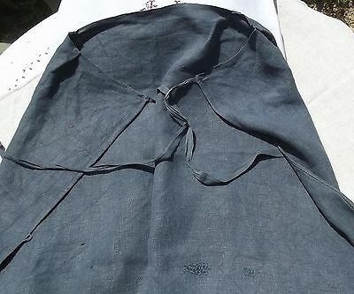 Antique  French Butchers Apron Kitchen Cooks Woad Blue charcoal grey hemp