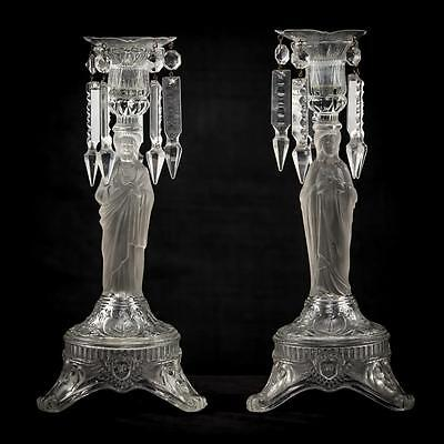 Beautiful Pair of Sacred and Immaculate Heart Glass Candlesticks Candle Holders