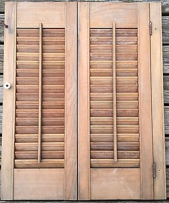 Old Vtg Antique Interior Wood Louvered Window Shutter Original Hinged Folding