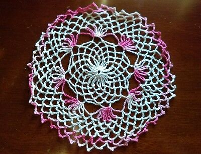 A2 Vintage Crochet Work Doily Center Piece Shabby Chic Granny Doilies pink white
