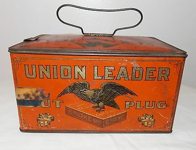 Vintage Union Leader Cut Plug Tobacco Tin W/Handle