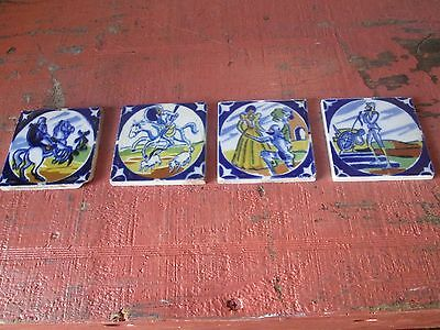 """VINTAGE  horses  medieval gothic  knight SPANISH CONQUISTADORS TILES 3 """" X 3 """""""