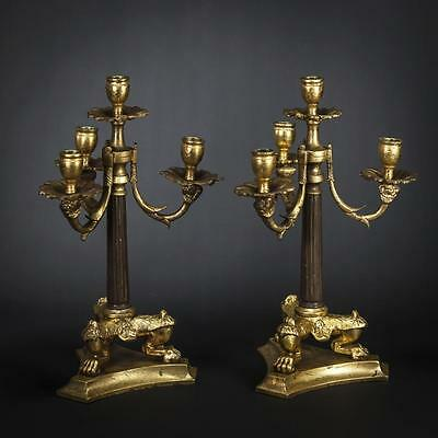 "13"" Pair of French Antique Gilded Bronze 4 Tier Arms Candelabras Candle Holders"