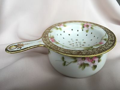 Beautiful Antique Porcelain Tea Strainer & Drip Cup Hand Painted NIPPON Pre-1921