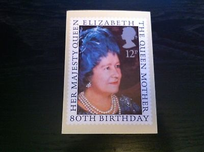 Beautiful Queen Mother 80Th Phq Card Fdi & Gutter Pair Stamps - Rare
