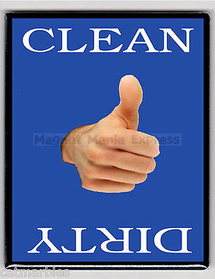 METAL DISHWASHER MAGNET Thumbs Up Blue Background Clean Dirty Dishes MAGNET X