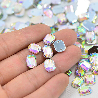 AB Crystals Flatback Rhinestones Sew On Acrylic Stones Rectangular For Clothes