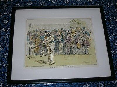 REDUCED Cricket FG PRINT of W G GRACE Cricketer At The Nets At LORD'S 13x11ins