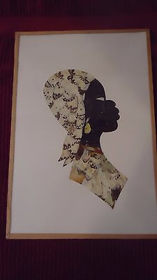 """Vintage African Butterfly Wing Art   Wall Hangings 13.5"""" x 8 5/8"""""""