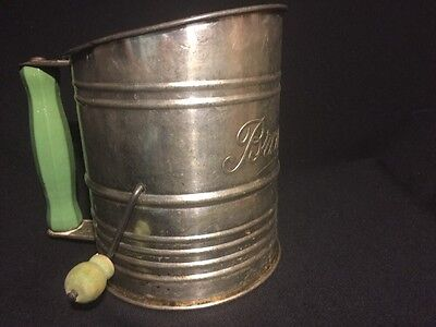 HTF From 50s BROMWELL MEASURING FLOUR SIFTER Green Wood Handle Knob Farm Kitchen
