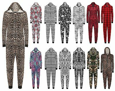 Womens Long Sleeve Viscose Jersey Print Jumpsuit Ladies Zip Up Hooded Playsuit