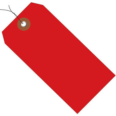 """Plastic Shipping Tag Pre-Wired 4-3/4"""" x 2-3/8"""" Red - 100 Pack"""