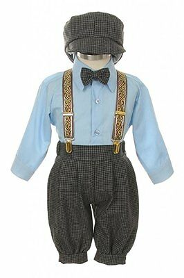 Baby Toddler Boys Knickers Vintage Outfit Set Formal Overall Suit Short Blue New