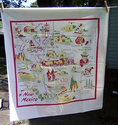 Vintage NEW MEXICO State Map SOUVENIR TABLECLOTH Western Santa Fe Indians Pueblo