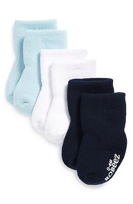 Infant Boys Robeez Terry Bootie Socks, Size 0-6 months - Blue (3-Pack) 4003