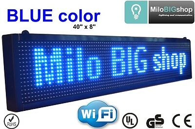 """LED Scrolling Sign WiFi BLUE Color Programmable message Display 8"""" X 40"""""""