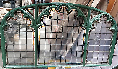 Original Antique Reclaimed Wooden Stained Glass Leaded Window Panel