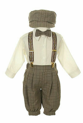 New Baby Toddler Boys Knickers Vintage Outfit Set Tuxedo Overall Pants Brown nwt