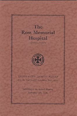 1938 Annual Report The Ross Memorial Hospital Lindsay Victoria County Ontario