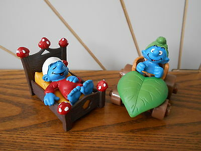 MUSHROOM BED & LEAF CAR character toy figures THE SMURFS Schleich 1982/2000