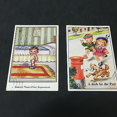 282   Two Vintage postcards - Cute  Children - Posted 1920  & 1949
