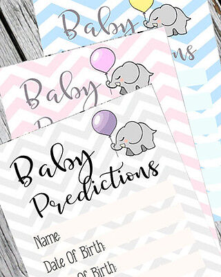 x30 Baby Shower Prediction Game Cards Party Keepsakes Boy / Girl / Unisex Games