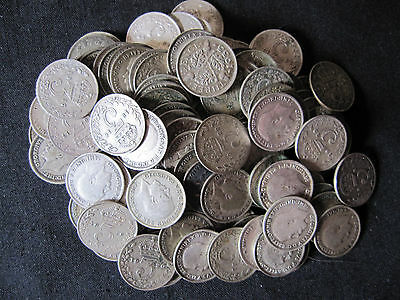 King George V - 110 Three Pence Coins 3d (1916 - 1935)  REAL SILVER - 150 GRAMS