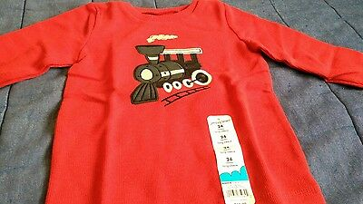 boys red long sleeved shirt 24 months train locomotive new