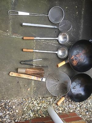 13''Round Based Carbon Steel Wok (Commercial Quality) & Wooden Handle Wok Shovel