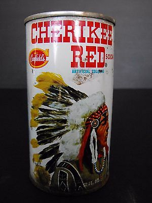 Canfield's Cherikee Red Soda Pop Can Vtg Straight Steel Chief Graphics