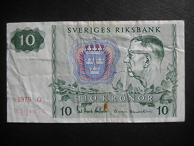 SWEDEN 1963-76 ISSUE - 10 KRONOR 1979 - P52d - CIRCULATED CONDITION
