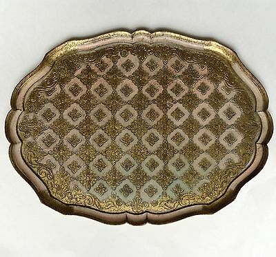 Very Large Vintage Italian Florentine Gold Gilt Pale Peach Oval Scalloped Tray
