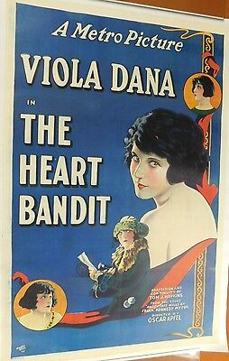 THE HEART BANDIT Rare 1924 Silent Film METRO Color Litho MOVIE POSTER Viola Dana
