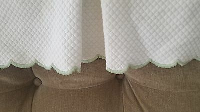Pottery Barn Kids White Cotton Matelasse Crib Skirt Green Scalloped edge Dust Ru