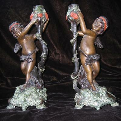 Antique 19th c Pair Bronze NeoClassical Cherub Candlesticks Candle Holders