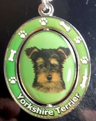 New YORKSHIRE TERRIER Spinning Keychain Dog Pet Gift Key Chain