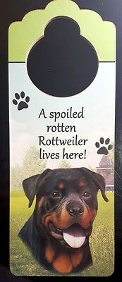 New ROTTWEILER Door Knob Handle Hanger Wooden Sign Spoiled Rotten Dog