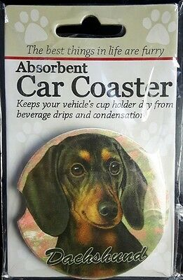 New DACHSHUND Dog Absorbent Car Coaster Cup Holder Dry Stoneware