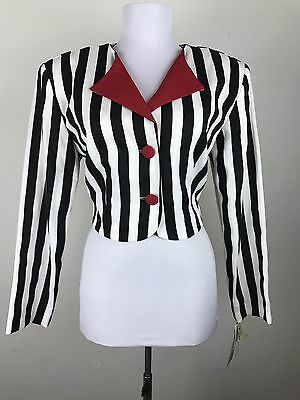 Vintage 1980s Cropped Blouse Top Black White Striped Red Accents NWT Theatrical