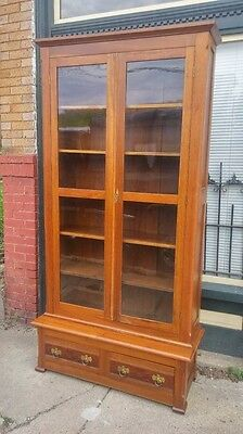 Antique Walnut Victorian Step-back Bookcase