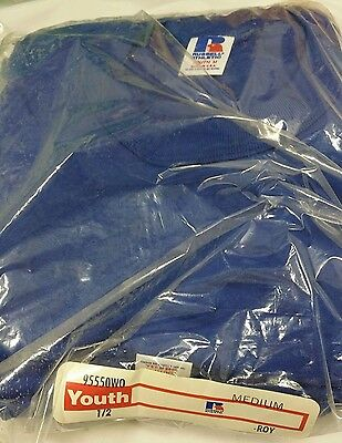 Youth Royal Blue Vintage Medium Sealed 6-pack Russell Athletic T-Shirts