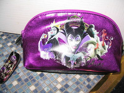 Disney Store Villains Purple Cosmetic Bag Maleficent Cruella & Evil Queen Rare