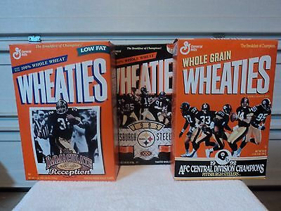 3 Boxes of Wheaties Commemorating the Pittsburgh Steelers  1992  1995  1997