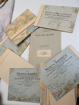 1942 Maps for Victory by Gilbert Grosvenor, Nat Geo Reprint w/ 7 NAT GEO MAPS!