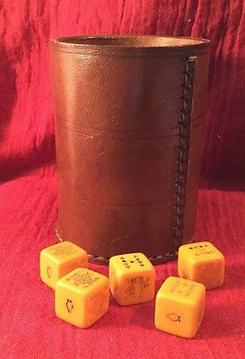 vintage Collectable casino cards poker Bakelite dice genuine leather tumbler